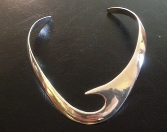 Hand Forged Sterling Silver Choker Art Necklace