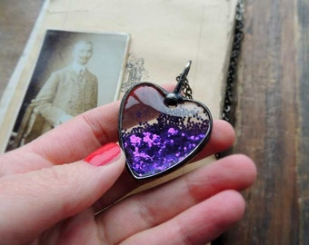 Amazing  Glitter heart necklace, love, sparkling, glass, crystal necklace,  Lighting  glitter Collection,