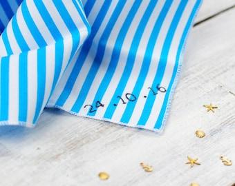 Personalised Hanky - Handkerchief - gift for groom - father of the bride - cotton anniversary - man's handkerchief - men's hankies - stripes