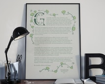 Desiderata Floral Vector Typography Print | 2 Different Designs (A5 / A4 / A3)