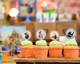 Customized Party Cupcake Toppers (Zootopia Theme) x 24 pcs