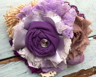 Eggplant Purple & Lavender Burlap Lace Flower Hair Clip, Girls Headband, Baby Headbands, Newborn Headband, Purple Headband, Purple Hair Bows
