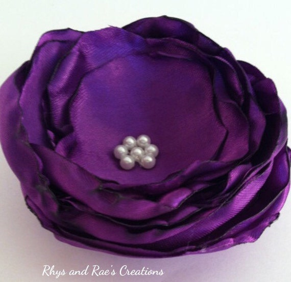 Purple fabric flower hair clip newborn headband baby for Purple baby fabric