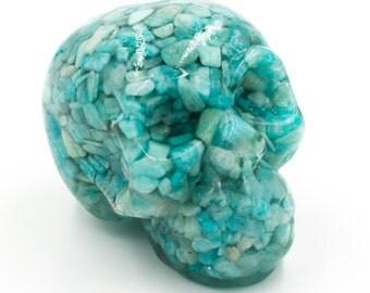 Amazonite Gemstone Skull in Resin Gemstones Skull