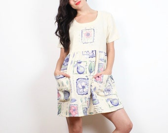 Vintage 90s Dress Pale Beige Yellow Patel Floral Fruit Print Babydoll Mini Dress Boho Soft Grunge 1990s Kawaii Tshirt Dress S Small M Medium