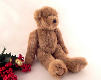"""Teddy Bear Toy Brown Stuffed Plush Animal 12"""" Jointed  Vintage Home Decor Craft Supply"""