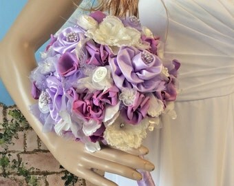 Ivory-Wisteria Wedding Bouquet,Fabric Flower Bouquet,Lilac,Bridal Bouquet,Wisteria Wedding Flowers,Brides Bouquet,Purple Wedding,Decorations