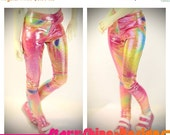 Anniversary Sale 20% Off BJD MSD 1/4 Doll Clothing - Shimmer Rainbow Tie Dye Print Leggings