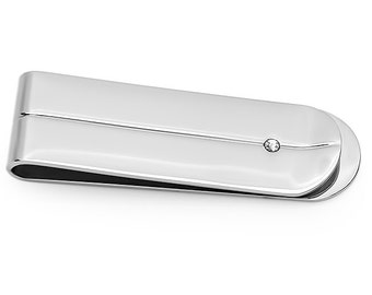 Stainless Steel Small Money clip with Cubic Zirconia
