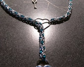 22 inch silver and teal claspless necklace