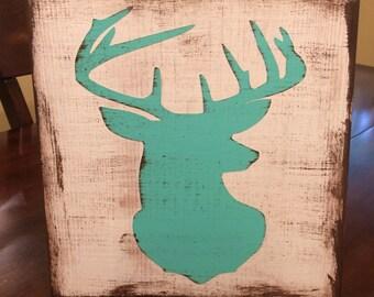 Distressed deer head sign
