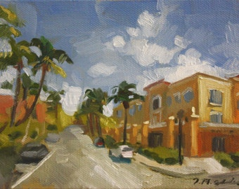 "Original Oil Painting Landscape, Naples Florida, 5th Ave, Downtown, Small Painting, 5x7"", Canvas, Signed, Impressionist, Urban Landscape"