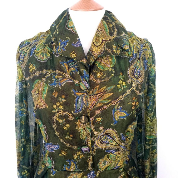 Maxi dress plus size UK 18 20 green vintage paisley 1970s sheer chiffon floaty long gown 70s Abigails Party festival shirtwaister