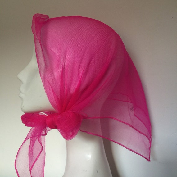 """chiffon scarf bright neon pink nylon 3 AVAILABLE DEADSTOCK vintage 1950s 1960s 28"""" square rock n roll rockabilly headscarf turban"""
