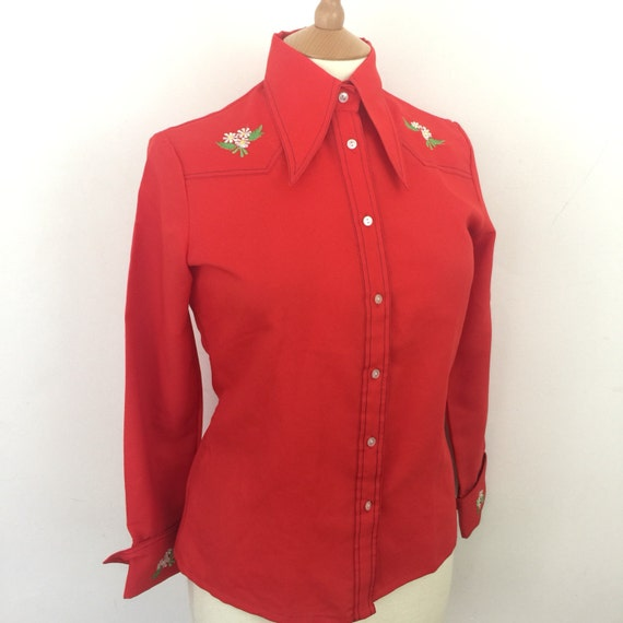 Dagger collar blouse red western shirt 1970s top polyester UK 14 70s shirt Mod GoGo Scooter Girl Dolly cowgirl