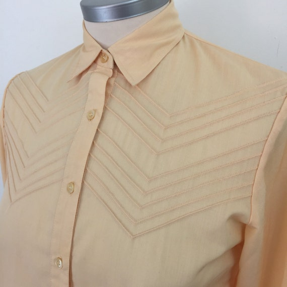 1970s blouse peach orange chevron embroidered polycotton shirt top Mod floral sexy secretary UK 10 12 pastel avant garde arrow stitch