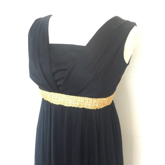 Maxi dress black grecian goddess draped pleated long 1960s evening gown silky jersey LBD UK 12 portrait neckline gold braid empire line