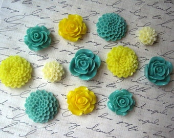 Magnet Set 12 pc Fridge Magnets, Yellow and Sage, Kitchen Decor, Office Decor, Housewarming Gifts, Hostess Gifts, Wedding Favors