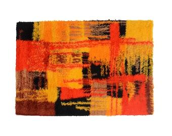 Vintage Danish Rya Shag Rug Wool Unikataeppe Running X