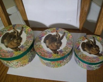 Storage boxes, set of 3 decorative storage boxes, rabbit in a field of flowers. 6 1/2, 5 1/2 and 4 1/2 sizes.