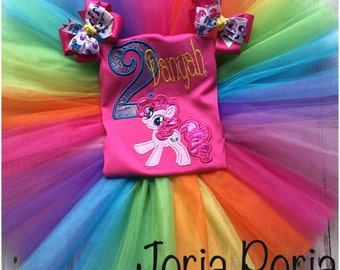 My little pony inspired Tutu set pinkie pie pink shirt