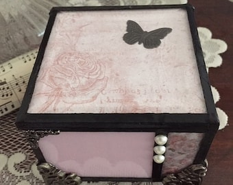 Stained glass loss of baby, loss of infant, loss of child miscarriage, stillborn memory keepsake box