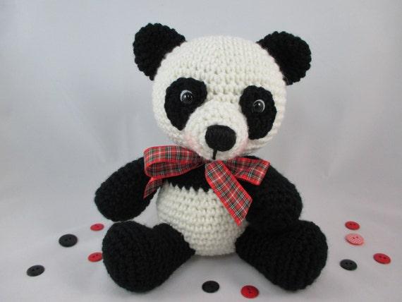 Amigurumi Panda Bear Crochet Pattern : Crochet teddy bear stuffed panda bear stuffed animal panda
