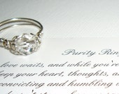 Purity Ring, Sweet Sixteen Gift,  Swarovski Crystal, Sterling Silver Handcrafted