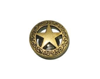 Texas Star Concho Antique Brass Screwback - 3 Sizes