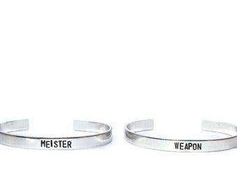 Soul Eater inspired Weapon and Meister cuff bracelet PAIR ready to ship