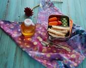 Batik Bento Bag in Rose, Purple, Blue, and Peach