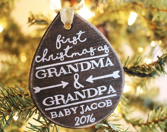 First Christmas As Grandma & Grandpa Ornament - Personalized Ornament, New Grandparents, Grandparent Gift, New Baby Ornament, Christmas Gift
