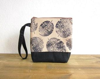 Wristlet clutch bag, Makeup bag, Women clutch, Zipper bag, hand stamped wristlet bag, leaves stamp