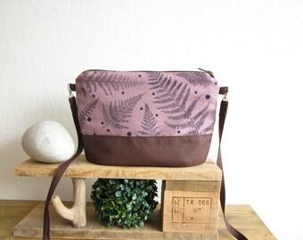 Violet Crossbody bag, Hand printed fabric, Ferns stamp, small size handbag, Every day bag, violet bag, polka dots bag