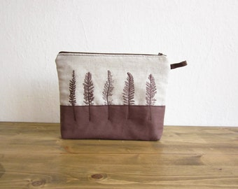 Linen cosmetics pouch, Hand Printed wild grass, Brown pouch, Big makeup organizer,  Cosmetic Bag, linen pouch