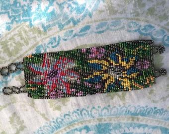 Peyote cuff bracelet vivid floral design