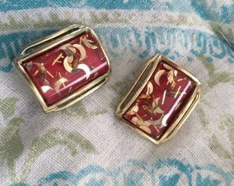 Vintage lucite confetti clip on earrings