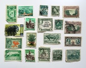 Vintage Postage Stamps, Collectable Stamps, Scrapbook Supplies, Paper Craft, Paper Ephemera, Set of 19 Used Stamps