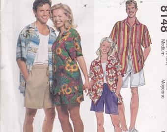 McCalls 8148 Vintage Pattern Mens Button Up Shirt and Shorts Size Medium (34-36) UNCUT