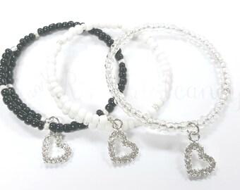 Memory Wire Bracelet, Heart Bracelet, Beaded Bracelet, Women's Jewelry, Handmade, Custom Beaded Jewelry, Bridesmaid