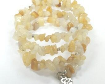 Memory Wire Bracelet, Moonstone Beaded Bracelet, Agate Botwana Chips, Gemstone, Bracelet Stack, Minimalist, Boho Style, Women's Jewelry