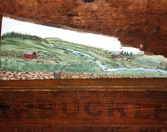 Vintage Folk Art Painting on Old Barn Wood Farm Landscape Titled Heartland