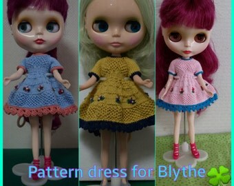 Pattern PDF Dress for Blythe with flower and beads