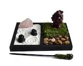 Rose Quartz Mini Zen Garden // Laughing Buddha Statue // Desk Accessory // Terrarium // Crystal // DIY Zen Kit // Meditation // Zen Gifts
