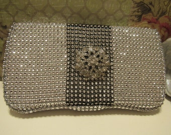 Black & Silver Baby Wipe Container Bling Rhinestone Purse Case with Brooch , Great wedding shower gift!
