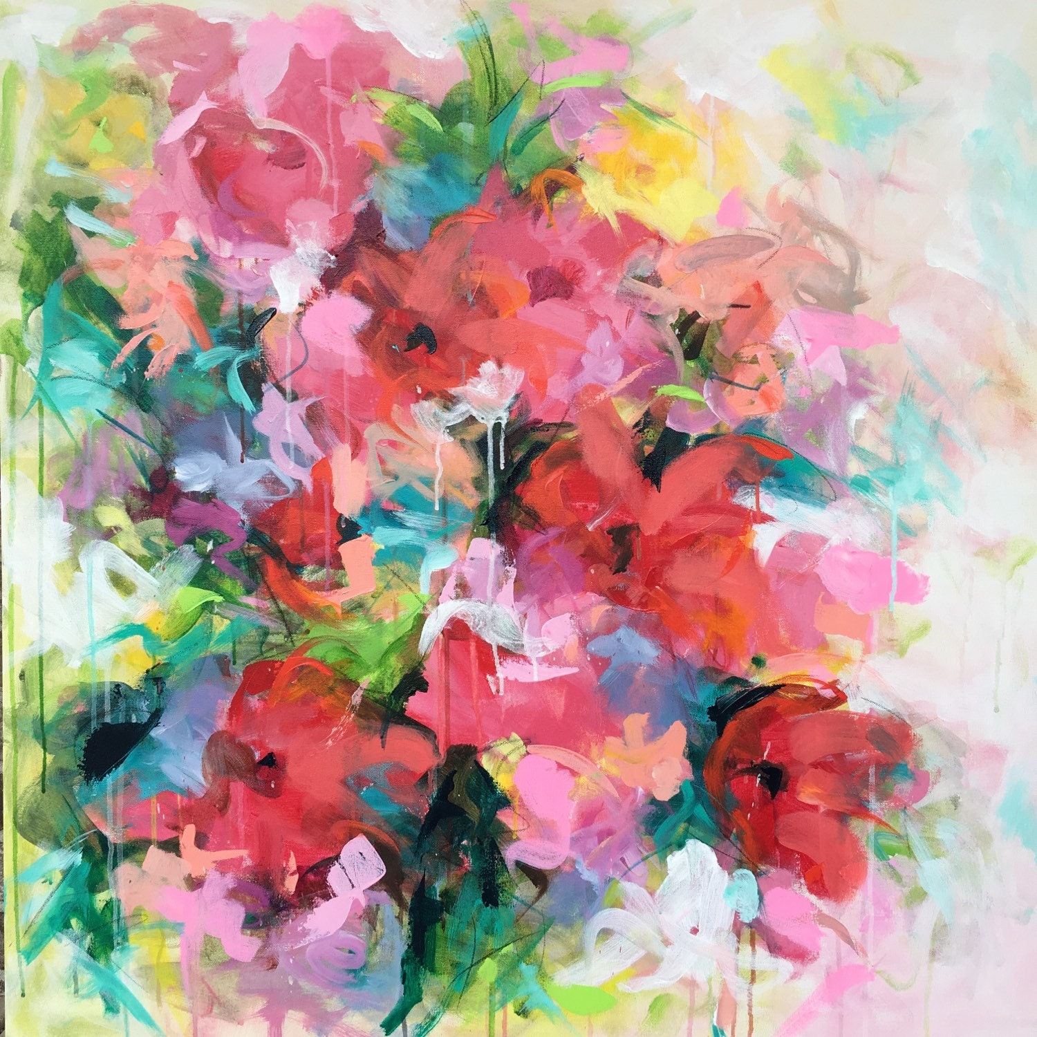 Original painting bright floral garden 36x36 with acrylic for Bright flower painting