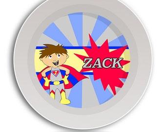 Superhero BOWL, Melamine Dish, Kids Tableware, Super Hero Dinnerware, Plate and Bowl Set, Childrens Tableware, Baby Dishes, Baby Dish Set