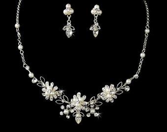 Freshwater Pearl Bridal Necklace Set, Bridal Jewelry, Wedding Jewelry, White Pearl Necklace, Wedding Pearl Necklace Set, 268-6858