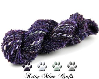 Handspun 3ply Yarn - Purple Majesty dyed on BFL wool, plied with Nylon Sparkle fiber - 87 yards - Heavy Worsted - Knitting Supplies