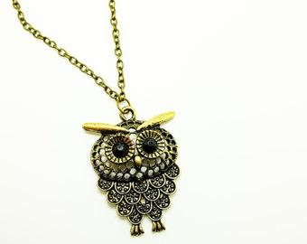 bronze owl necklace